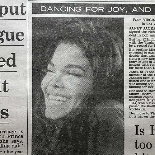 DAILY MAIL Newspaper Article feat. JANET JACKSON March 12 1991
