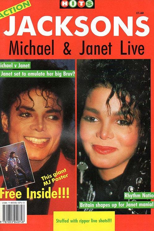 1990 ACTION JACKSONS UK MAGAZINE + POSTER MICHAEL & JANET JACKSON