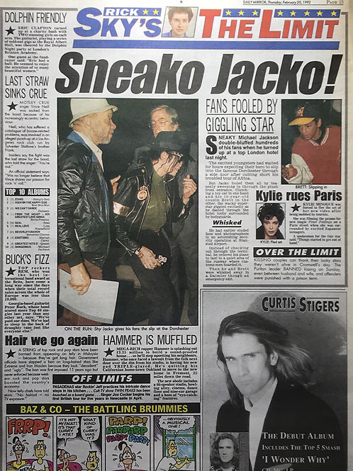 1992 DAILY MIRROR News Article MICHAEL JACKSON KYLIE MINOGUE in Paris
