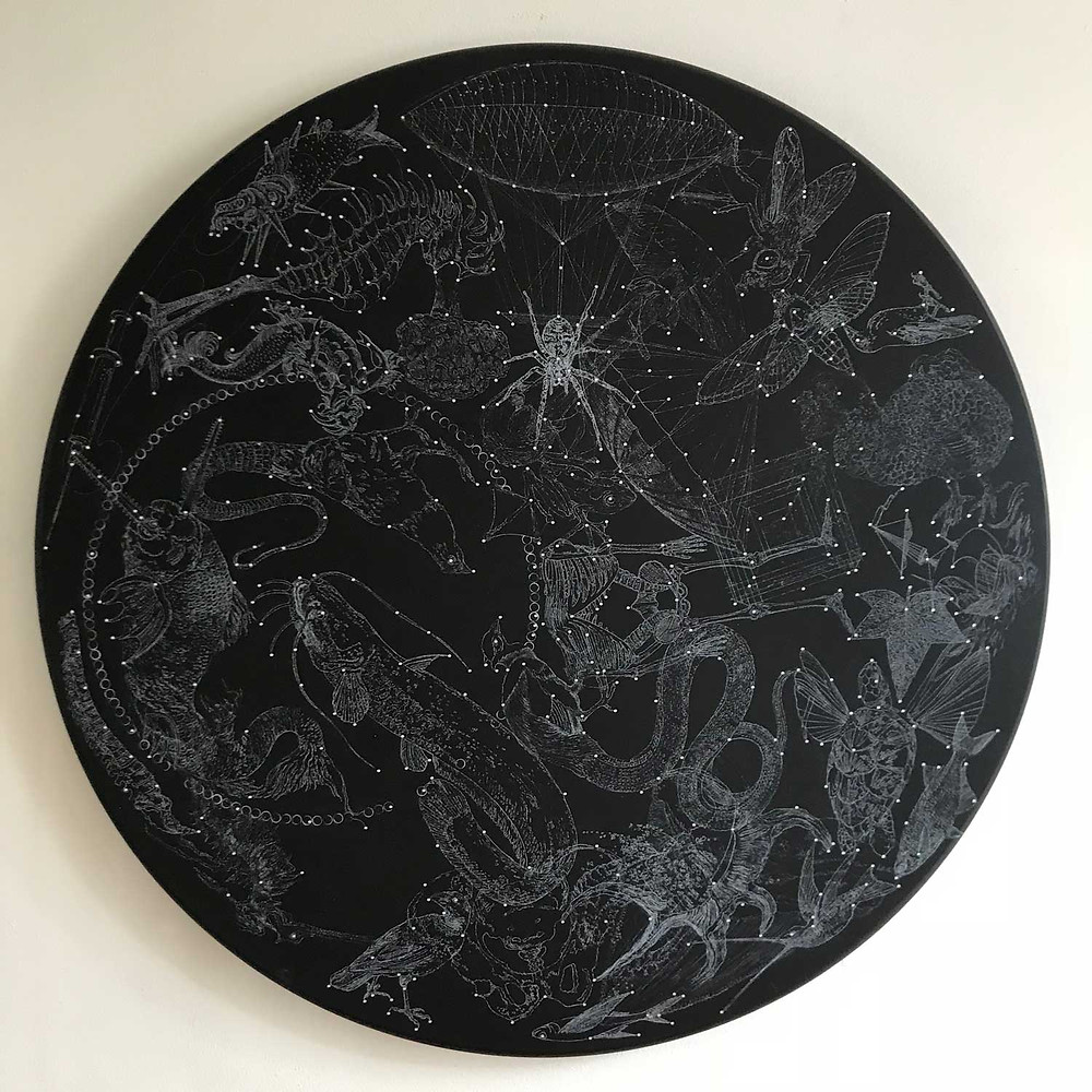 Constellation II by Mauricio Ortiz - mixed media on circular board