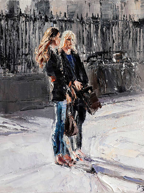 White City Gallery presents 'Two Girls, Cambridge' by David Porteous-Butler. Original figurative oil painting