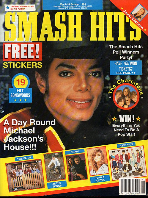 1990 Oct Smash Hits UK Mag MICHAEL JACKSON JASON DONOVAN PAULA ABDUL SNAP!