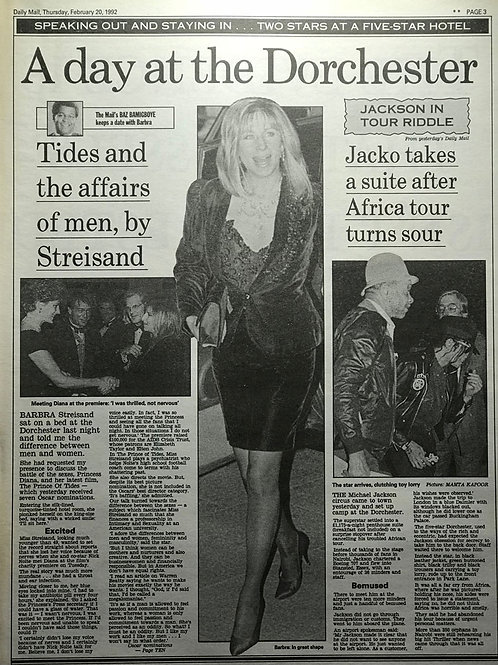 1992 Jacko Takes A Suite After Africa Tour DAILY MAIL MICHAEL JACKSON STREISAND