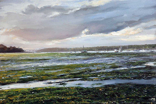 The River Orwell at Low Tide - an oil painting by David Porteous-Butler. Classic Suffolk landscape. White City Gallery