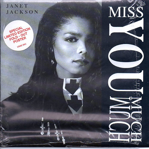 "Janet Jackson MISS YOU MUCH Limited Edition POSTER 7"" Single GREAT CONDITION '89"