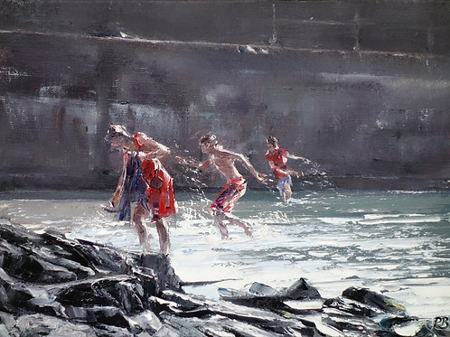 David Porteous-Butler 'Bathers, Elgol' 40x30cm White City Gallery London Oil on canvas Palette knife artwork Figurative water