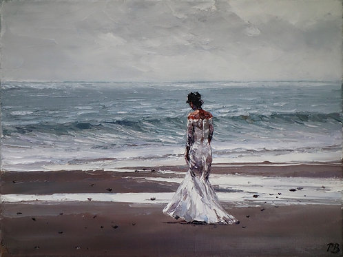 David Porteous-Butler 'Bride, Tenby Beach' 40x30cm White City Gallery London Oil on canvas Palette knife artwork Beach Dress