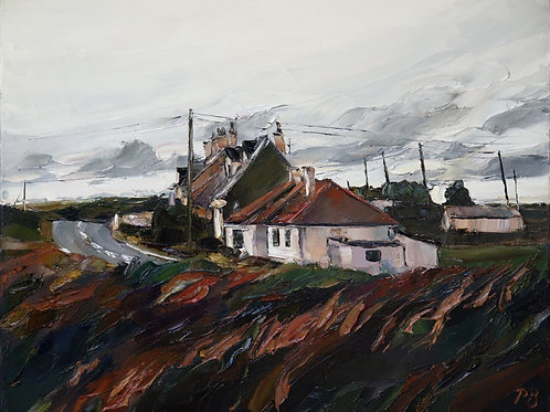 David Porteous-Butler 'Lonely Cottages' 50x40cm White City Gallery London Oil on canvas Palette knife artwork rural scene sky