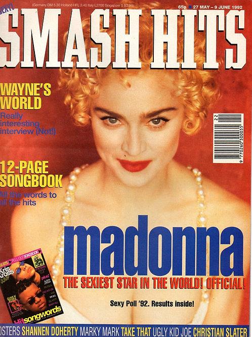 SMASH HITS MAGAZINE MAY 1992 MADONNA WAYNE'S WORLD TAKE THAT
