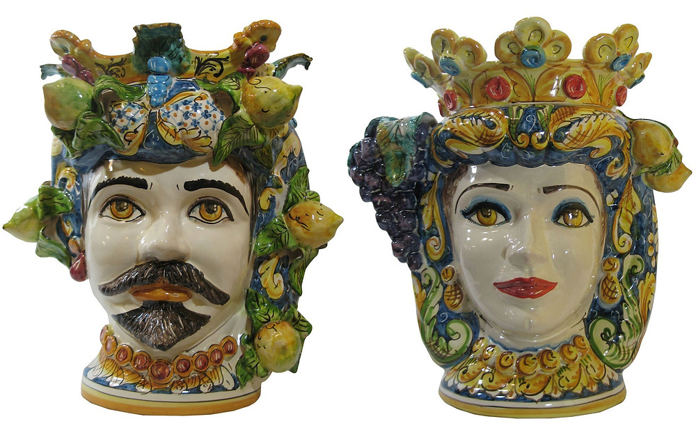 Traditional 'Teste di Moro' ceramic Moor's heads from Sicily