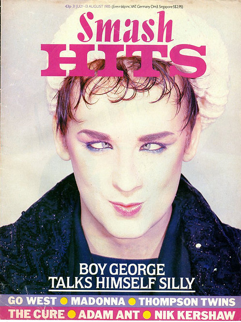 1985 Smash Hits magazine cover featuring Boy George of Culture Club