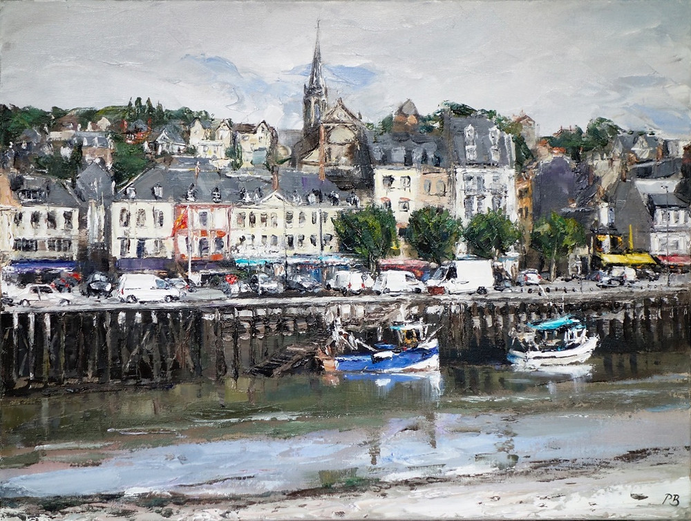 A heavily textured oil painting of the Normandy town of Trouville-sur-Mer by David Porteous-Butler. Its riverside scene. In the foreground a couple of small boats are moored against the quayside, while the background the spire of Notre Dame church dominates the skyline of the quaint seaside town.