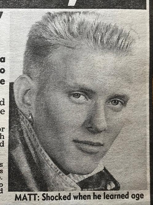 November 1989 News Of The World Article Matt Goss of pop group BROS
