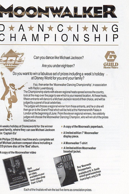 1989 'MOONWALKER DANCING CHAMPIONSHIP' SUPER RARE MICHAEL JACKSON UK COLLECTABLE