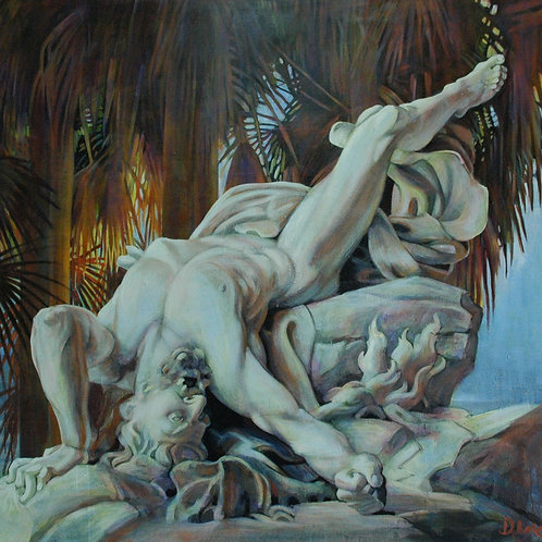 Titan Tropical, Costa Rica, sculptural sensual fallen patriarch, Greek Mythology, Deirdre Hyde painting, White City Gallery