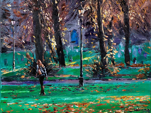 David Porteous-Butler 'Towards St. Mary's' 46x38cm White City Gallery London Oil on canvas Palette knife artwork Autumn walk