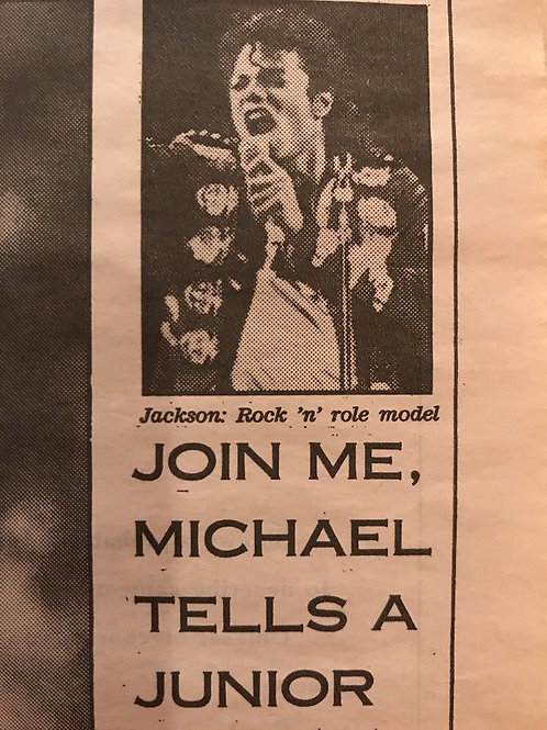 1990 'Join Me, Michael Tells A Junior Jacko' Daily Mail News Article