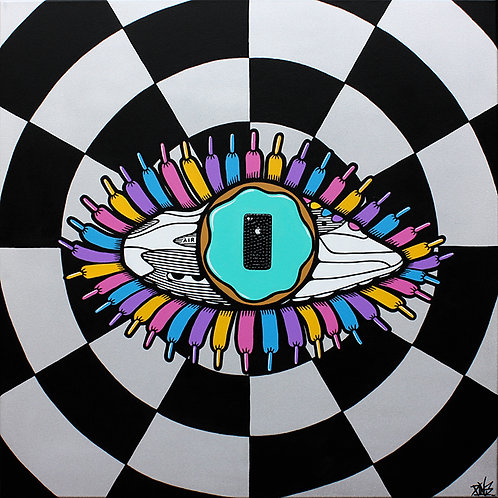 Eye Phone, the Big Brother eyeball is always observing, original painting by artist PINS at White City Gallery London