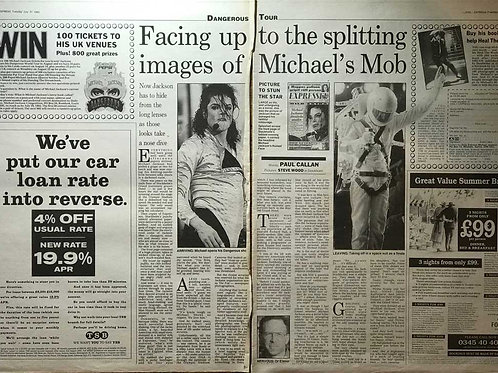 1992 Facing Up To The Splitting Images MICHAEL JACKSON Daily Express