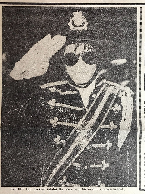 1985 March POLICE DAILY MIRROR Newspaper Article feat MICHAEL JACKSON
