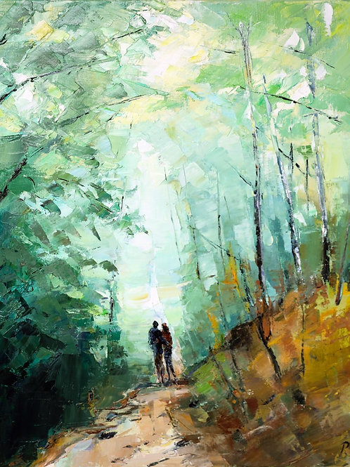 David Porteous-Butler 'Walk in the Forest' 38x46cm White City Gallery London Oil on canvas Palette knife artwork wood stroll