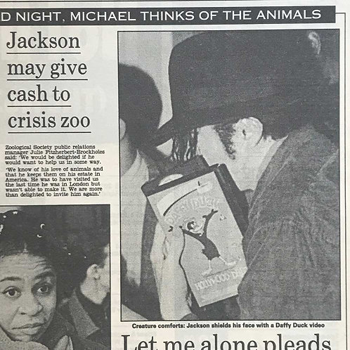 1992 Jackson May Give Cash to Crisis Zoo DAILY MAIL MICHAEL JACKSON