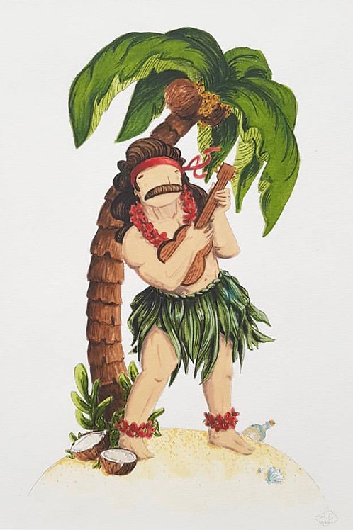 White City Gallery presents 'Aloha' by NAKI. Ukulele playing tropical man with a moustache and a grass skirt!