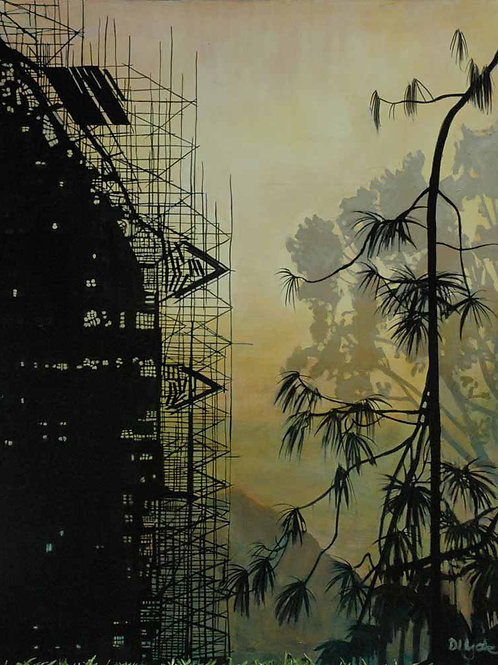 An original painting by Deirdre Hyde. Construction of the National Stadium, San Jose, Costa Rica. White City Gallery London
