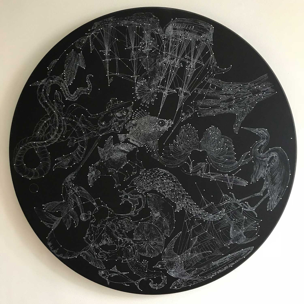 Constellation I by Mauricio Ortiz - mixed media on circular board