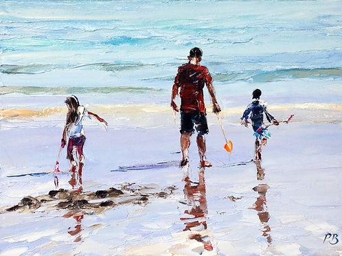 David Porteous-Butler 'Sandcastles' 40x30cm White City Gallery London Oil on canvas Palette knife artwork beach coastal scene