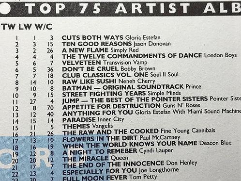 GLORIA ESTEFAN at #1 Record Mirror Magazine Article UK 1989