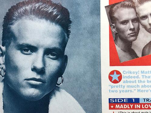 SMASH HITS MAGAZINE Article featuring BROS 1989 BRITISH