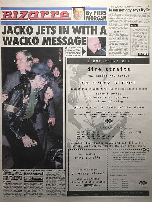 1992 News Article from The Sun featuring Michael Jackson, Jason Donovan and Kylie Minogue