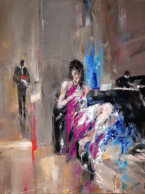 David Porteous-Butler 'Waiting' 50x60cm White City Gallery London. Oil on canvas, palette knife work. Elegant lady long legs