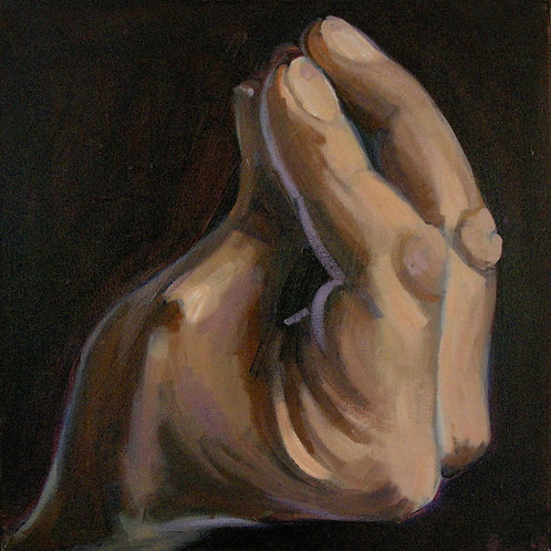 Small painting of a hand with fingers pinched together, palm upwards painted in rich brown tones - by Deirdre Hyde