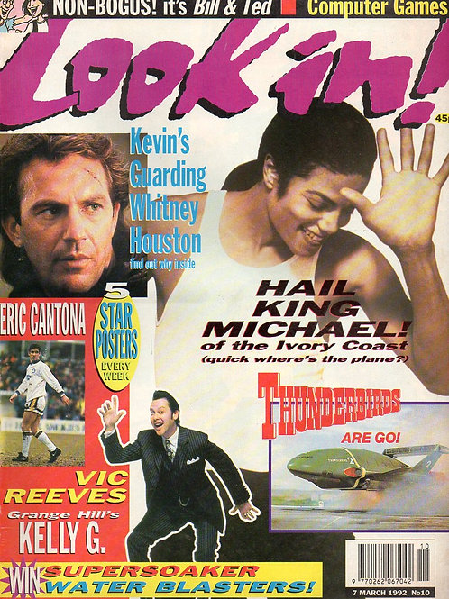 1992 Look In Mag UK MICHAEL JACKSON THUNDERBIRDS KEVIN COSTNER VIC REEVES