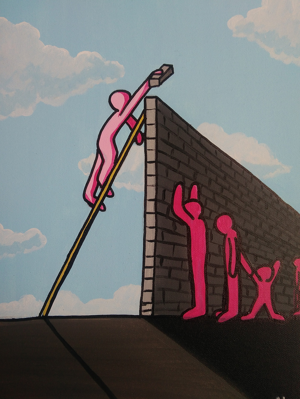 'Muri' by Christian Aloi (also known as Aluà) A single pink figure builds a awl which divides the people and causes sadness