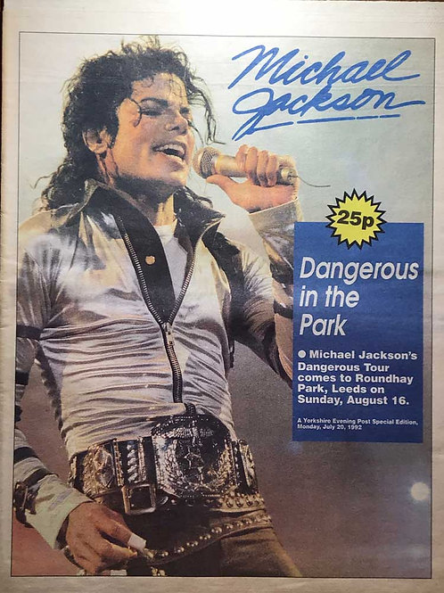 Front cover of Michael Jackson's Dangerous Tour Yorkshire Evening Post special edition