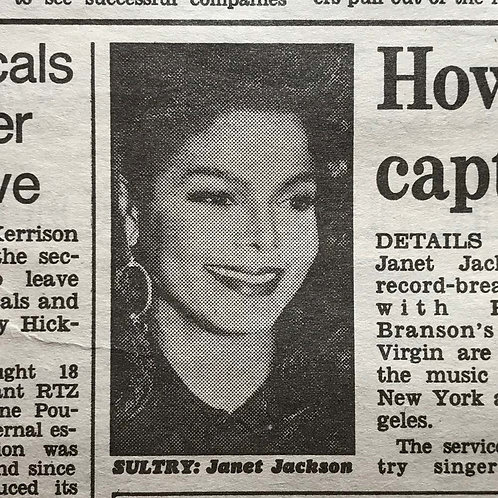MAIL ON SUNDAY Newspaper Article feat. JANET JACKSON March 17 1991