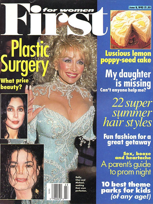 1992 June FIRST FOR WOMEN Michael Jackson Dolly Parton Cher Jane Fonda