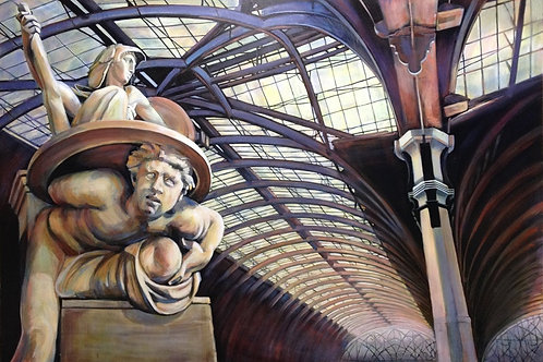 Station, Glazed roof section, Paddington Station London, original painting by Deirdre Hyde, White City Gallery