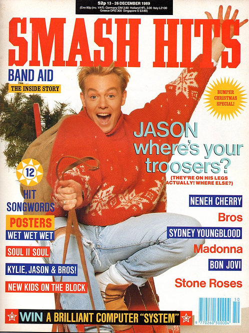 SMASH HITS MAGAZINE DEC 1989 JASON DONOVAN cover