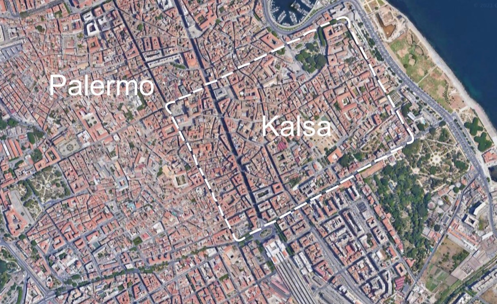 Map showing the approximate location of Kalsa in Palermo, Sicily