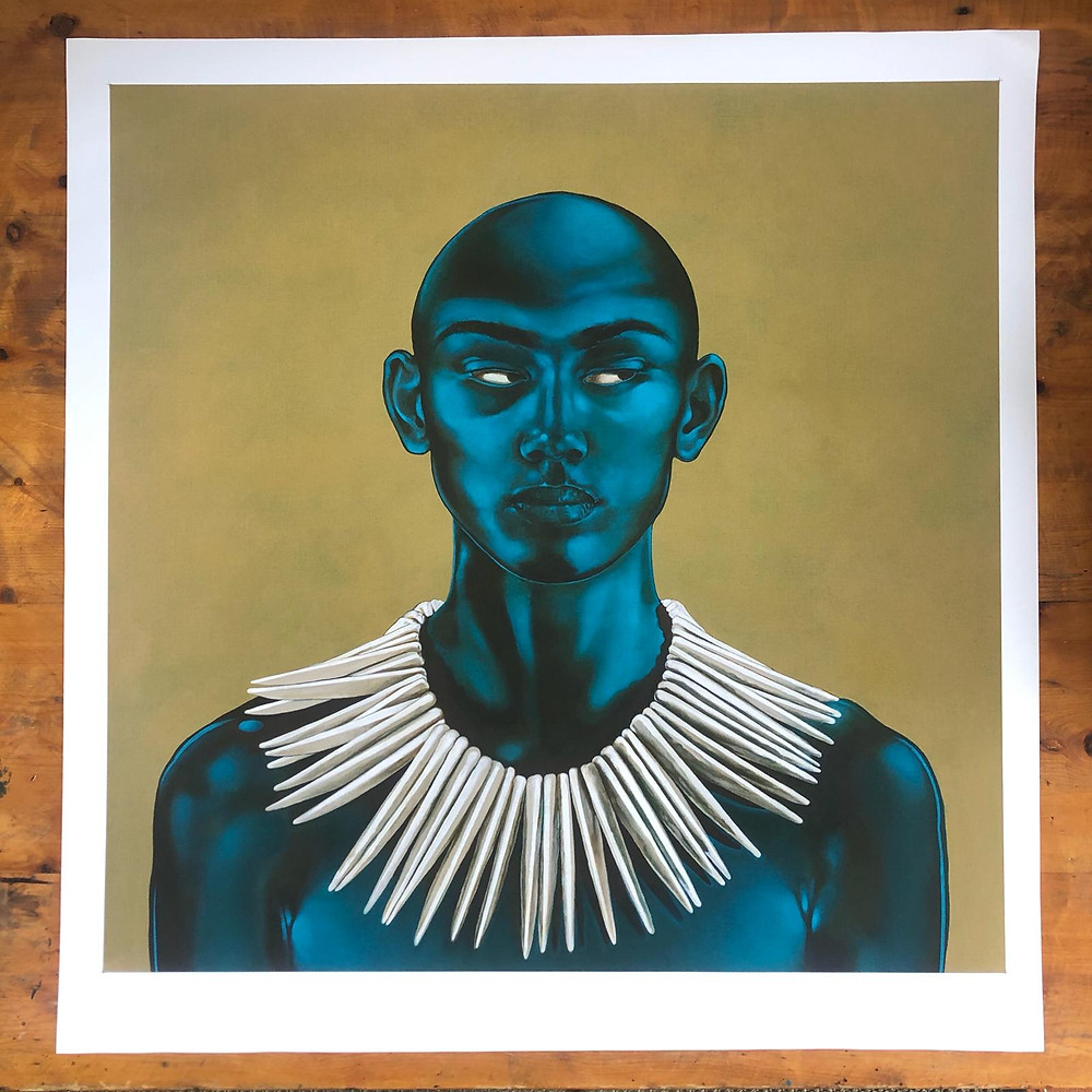 Portrait of a shaven-headed British Boy (by Mauricio Ortiz) with striking blue-toned skin and adorned with a dazzling white toothed tribal necklace