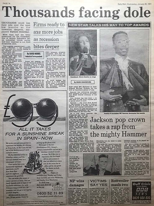 1991 Jan 30 'JACKSON POP CROWN TAKES A RAP' DAILY MAIL Newspaper Article