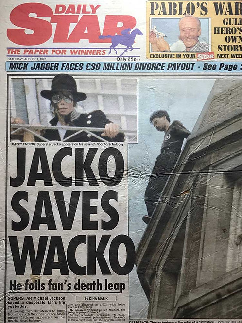 1992 Jacko Saves Wacko MICHAEL JACKSON Daily Star Article