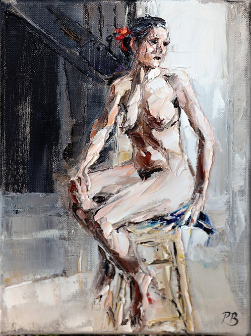 David Porteous-Butler 'Nude Study' 18x24cm White City Gallery London Oil on canvas Palette knife artwork figurative female