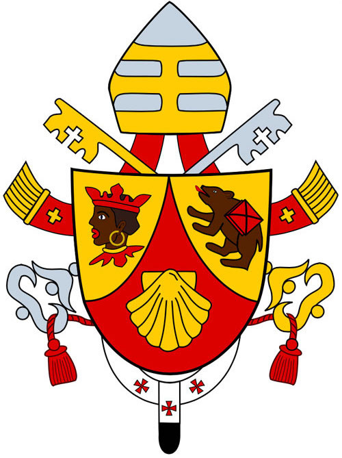 Heraldic coat of arms of Pope Benedict XVI featuring a Moor's head, bear and scallop shell