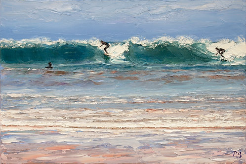 David Porteous-Butler 'Surfers at Harlyn Bay' 40x50cm White City Gallery London Oil on canvas Palette knife artwork Cornwall