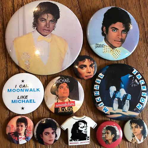 80's & 90's 11 Badges /buttons various sizes/eras collection Michael Jackson